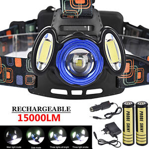 3x-XML-15000LM-T6-Rechargeable-Headlamp-HeadLight-Torch-USB-Lamp-18650