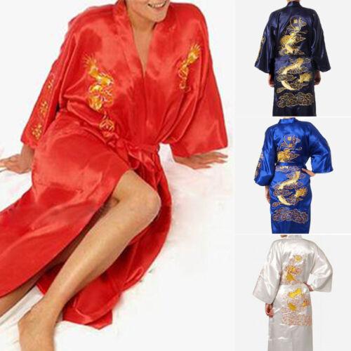 Hommes Satin Soie Kimono Robe de Chambre Peignoir Dragon Robe Chinois Bain Robe