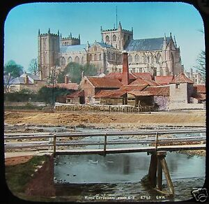 HAND-COLOURED-Glass-Magic-Lantern-Slide-RIPON-CATHEDRAL-FROM-THE-BRIDGE-C1890