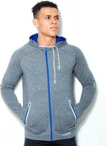 USN Grey Training Zip Hoodie Gym Workout Bodybuilding Fitness Jumper RRP £39.00