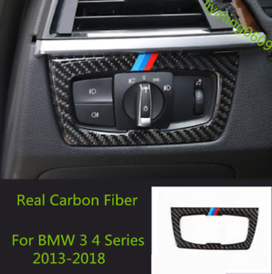 tricolor WFbag Carbon fiber headlight switch button cover decorative frame suitable for BMW 3 4 Series F30 F32 2013-2018 car sticker accessories headlight switch