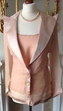 Authentic VALENTINO Vintage Rosa Organza Abito Ensemble Giacca Top Nuovo con etichette FR36 UK8!