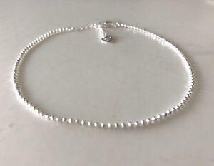 Genuine-925-Sterling-Silver-Balls-Chain-Anklet-Women-Girls-Children