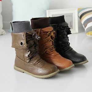 WOmens-Motorcycle-Round-toe-Hidden-Heels-PU-Leather-Lace-up-High-Top-Ankle-Boots