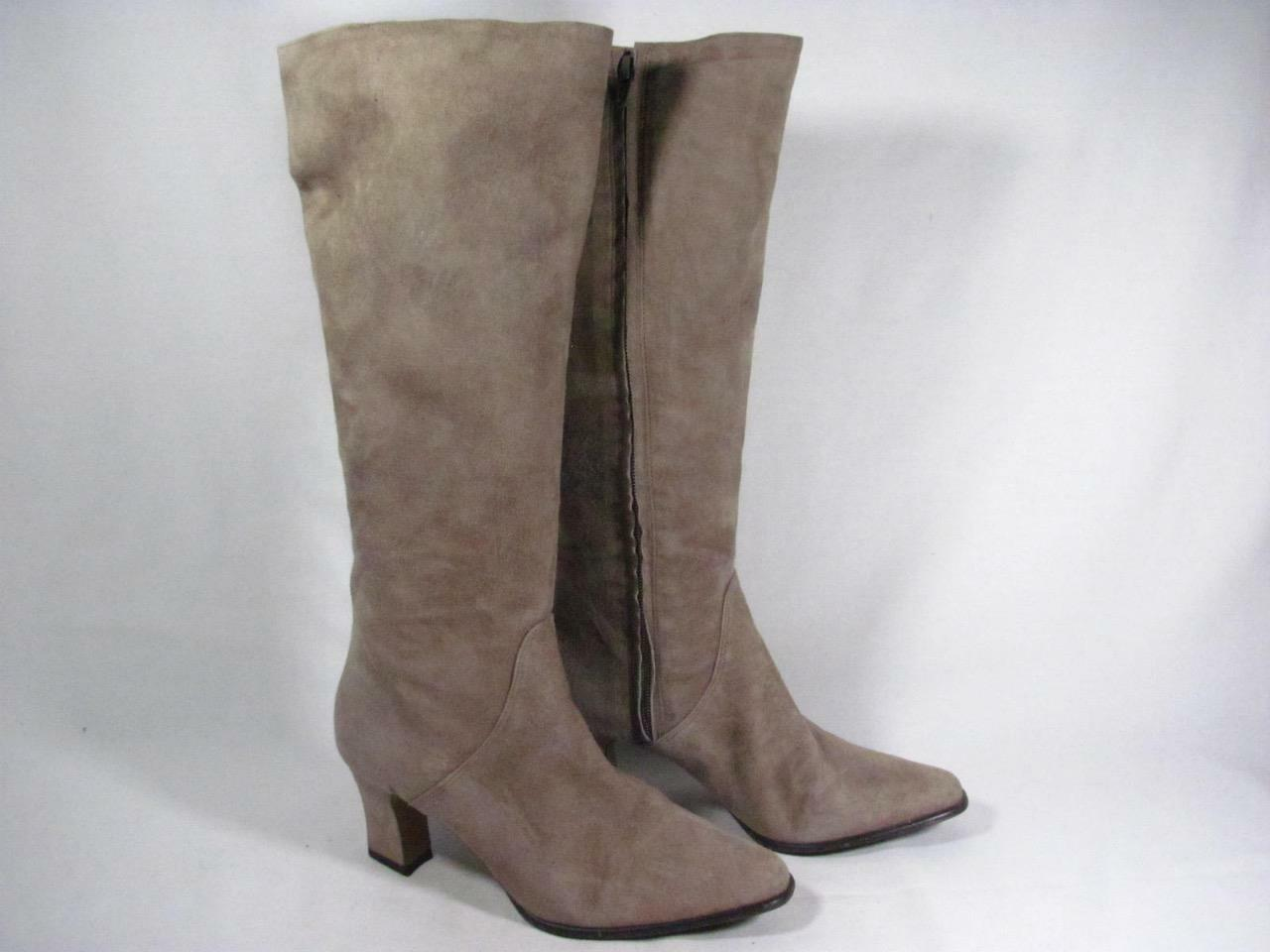 Vintage Bandolino Knee High Boot Women size 7.5 Taupe Suede