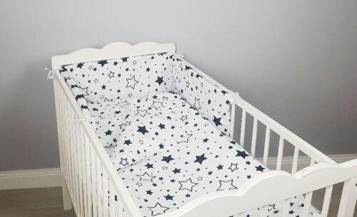 COT BED BEDDING SET 2 3 4 pcs pc black stars COTTON padded bumper pillowcase