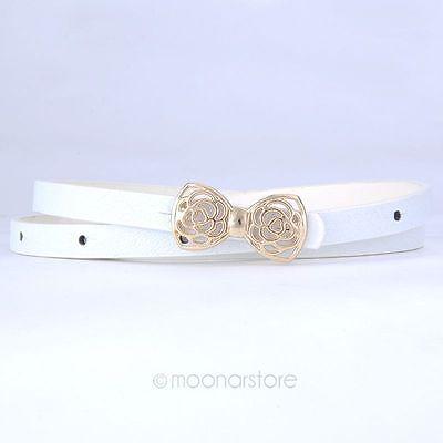 Women's Lady PU Leather Skinny Thin Narrow Bowknot Waist Belt Waistband Strap