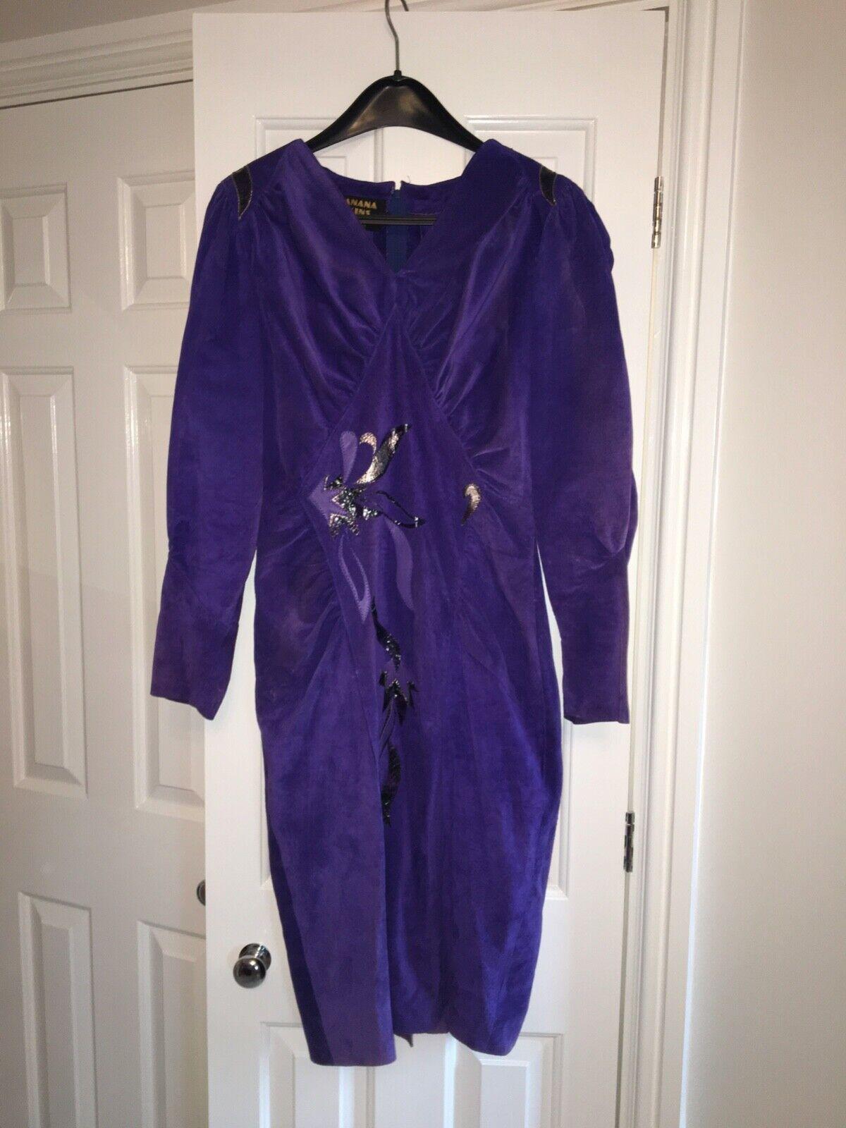 Banana Skins vintage designer royal Blau suede dress with leather applique