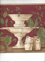 Wallpaper Border Kitchen Baskets Cups Stands Cherries Flowers Arrival Red