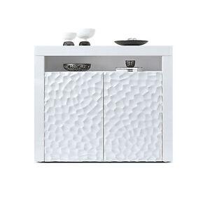 Comò moderno Girasole 3D,mobile a due ante bianco,soggiorno elegante ...