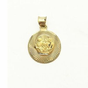 dfef46678 14K Solid Yellow Gold Baptism Round Medal Pendant -Necklace Charm ...