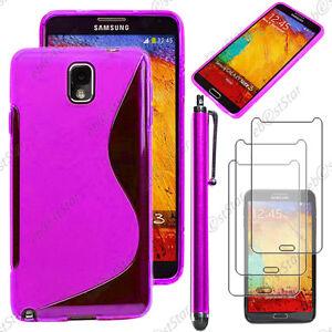 Détails sur Housse Etui Coque Silicone Violet Samsung Galaxy Note 3 N9000 Stylet 3 Films