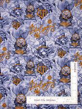 Yard Train Locomotive Engines Blue CP59702 Polar Express Christmas Fabric