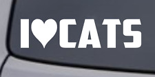 I LOVE CATS Vinyl Decal Sticker Car Window Wall Bumper Funny Pet Animal Heart