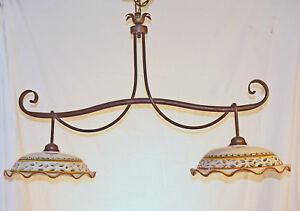 Lampadario Rustico Ceramica : Lampadario bilanciere art ferro battuto ceramica rustico nuovo