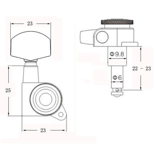 3R3L Black Square Locking String Funktion für elektrische Volksgitarre