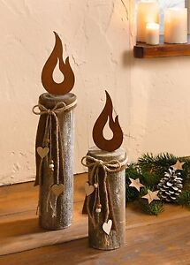 holz s ule kerze 2 er set deko s ule weihnachtsdeko holz rostdeko rustikal herz ebay. Black Bedroom Furniture Sets. Home Design Ideas