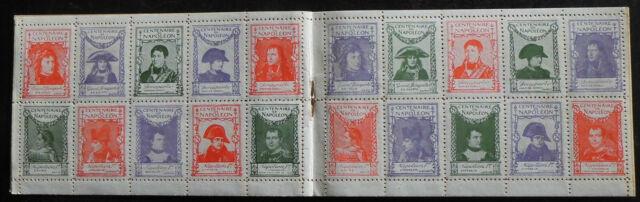 FRANCE Rare carnet 20 vignettes Centenaire mort de NAPOLEON BONAPARTE 1er 1921