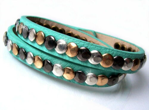 Armband Wickelarmband Stiefelband LederLook Strass Nieten 40cm Modeschmuck VA18#