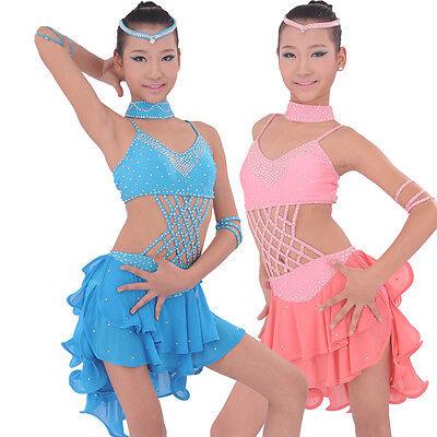 New Girls' Professional Blue Pink Latin Dance Dress Diamonds dancewear Costume
