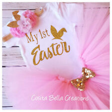 Handmade baby girl My First Easter pink and gold outfit tutu princess