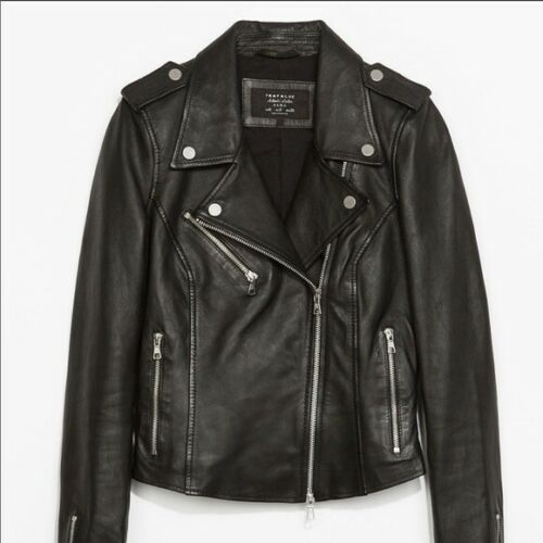Zara 100% Genuine Lamb Leather Biker Moto Motorcyc