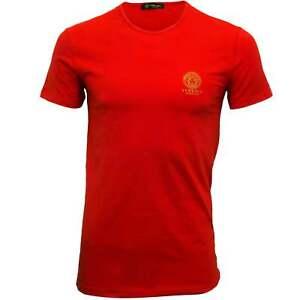 Iconic rossa stretch in T a shirt di girocollo cotone uomo Versace da xCCZPvq