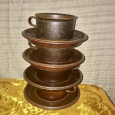 4 Vintage MCM Arabia Finland, Brown Ruska, 8 ounce Flat Cup & Saucer Sets Mugs