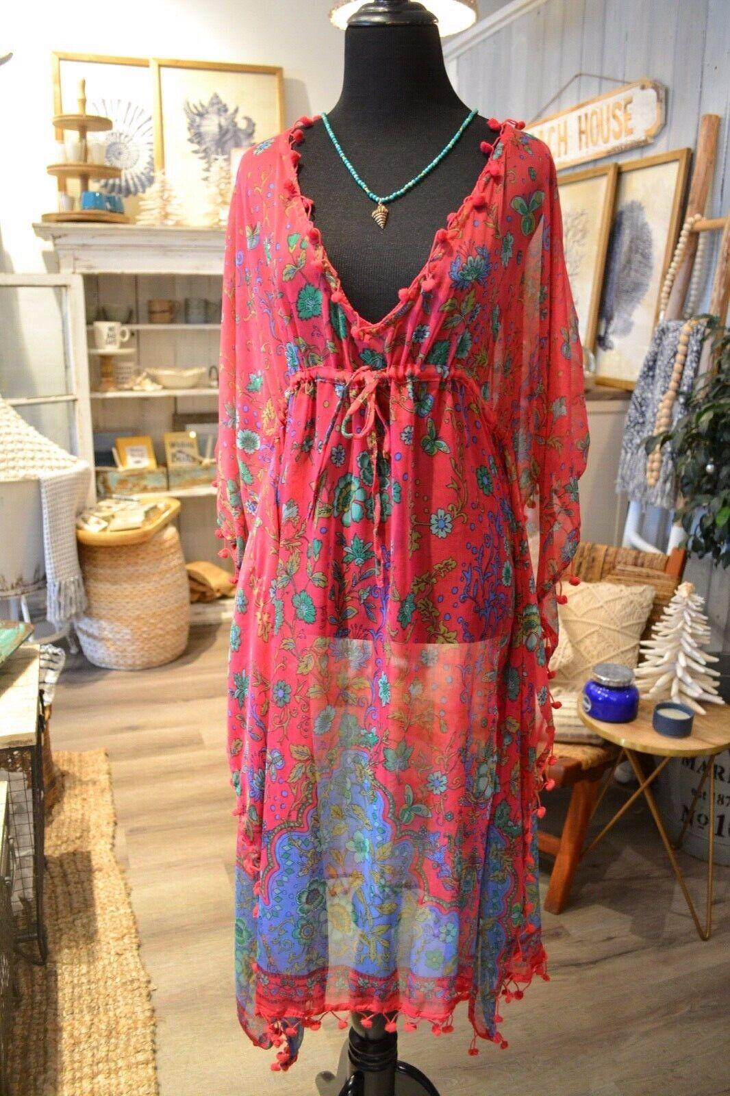 Raj sheer silk fuchsia floral cover up dress one size