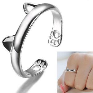Damen-Katze-Ring-Cat-Ringe-Silber-Kaetzchen-Katzenring-Offener-Fingerring-NEU