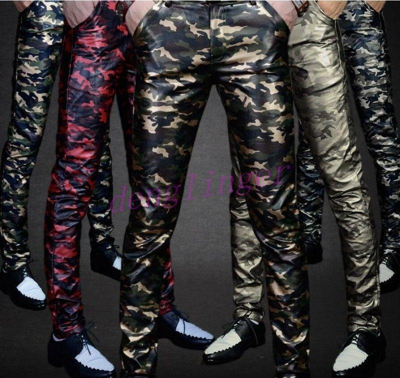 Shiny Mens Fashion Trousers PU Leather Skinny Slim Fit Long Straight Pants Zsell