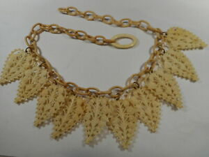 Antique-Art-Deco-1930s-Celluloid-Lace-off-white-Summer-CHOKER-Necklace-OLD