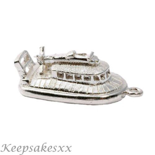 Plata esterlina aerodeslizador ferry agua barco Hover nave 925 Reino Unido 3D Charms Charm