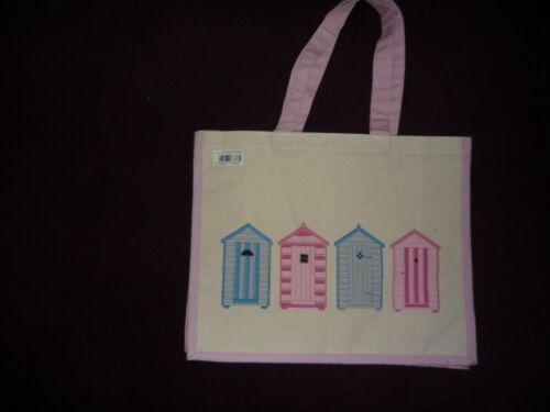 Tote Bag  Beach Hut Design pink /& cream Eco Friendly Large Canvas Shopping Bag