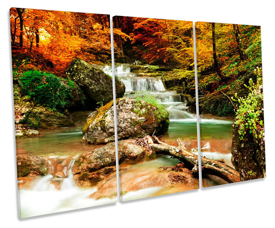 Autunno PAESAGGIO BOSCO BOSCO BOSCO FIUME CASCATA triplicare CANVAS Wall Art Box incorniciato stampa 073e33