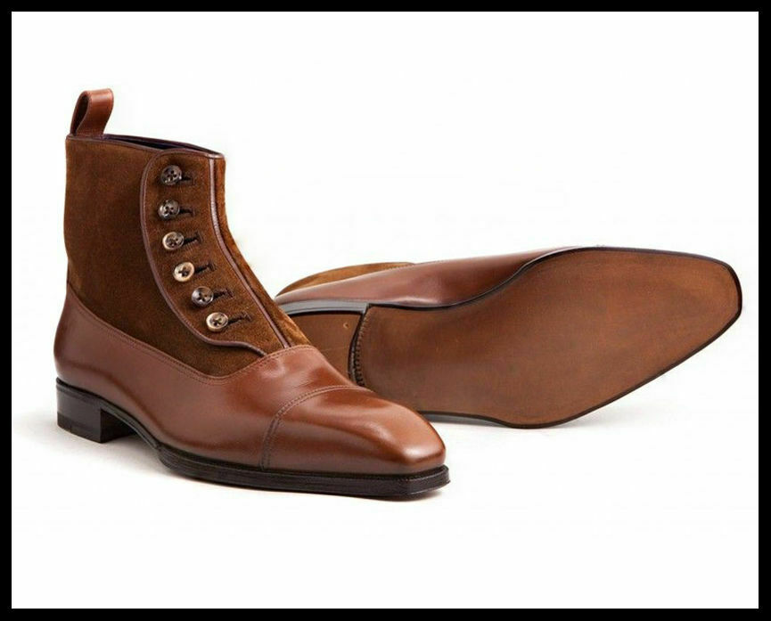 Homme Fait à la main bottes en cuir marron en daim Cap Toe Boutons Top Formal Wear Chaussure Nouveau
