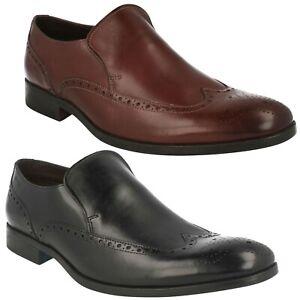 Élégant Cuir Hommes Clarks Chaussures Pour Brogues À Travail Enfiler Habillé 0qwv6