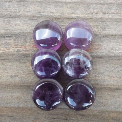 PAIR OF REAL AMETHYST PLUGS GAUGES BODY JEWELRY DOUBLE FLARED RARE