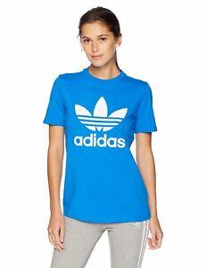Wielka wyprzedaż najwyższa jakość sprzedaż Details about Women's adidas Trefoil T-Shirt Blue DH3132