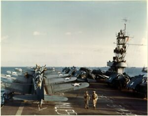 SBD-Dauntless-and-F4F-Wildcat-planes-aboard-USS-Santee-ACV-29-WWII-Photo-Print
