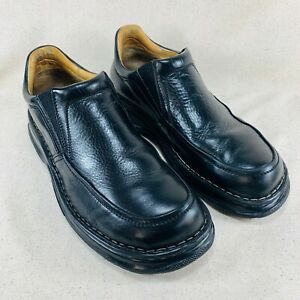 born black leather slip on loafers casual shoes  men's 12