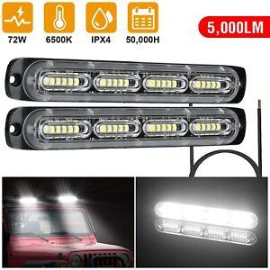 2PCS White 72W 24LED Car Truck Emergency Warning Hazard Flash Light Bar