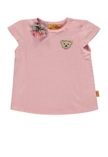 STEIFF T-Shirt mit Stoffblume barely pink rose unifarben rosa Mädchen 6913101