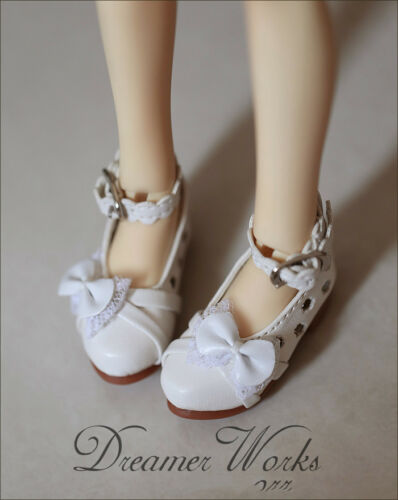 White Mimi Collection MSD Doc 1//4 BJD Obitsu Doll Flower lace bow casual shoes
