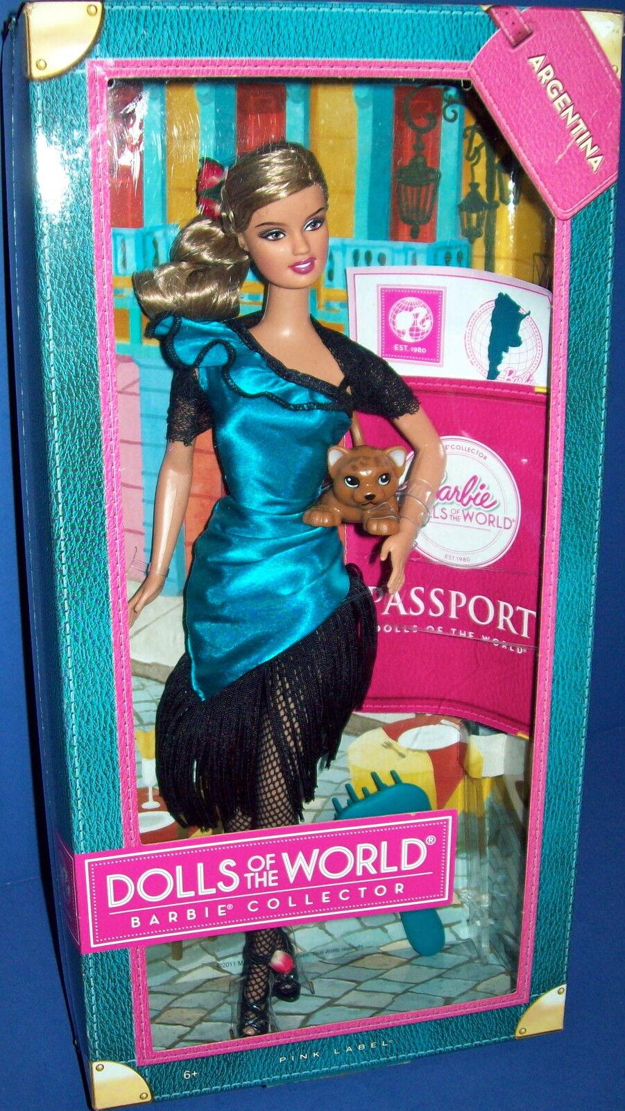 Barbie Sammler Puppe 2011 Dolls Of The World Argentinien Rosa Etikett NRFB Neuer