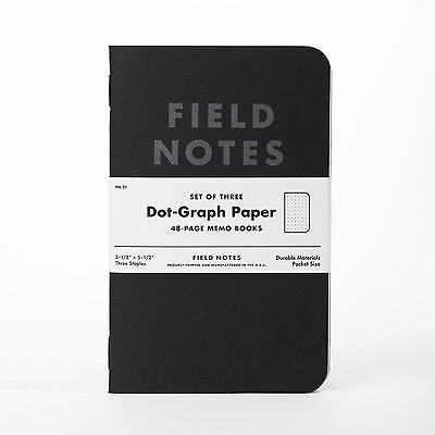 Field Notes Brand: Pitch Black Dot-Graph Paper Memo Books, 3 Pack