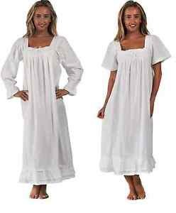 Image is loading 100-Cotton-Nightdress-Vintage-Victorian-Style-Nightie-size- b0c8e8e73