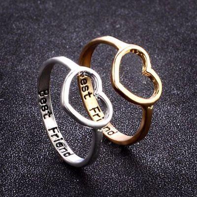 Rhinestone Love Heart Shape Rings Best Friend Ring Friendship Jewellery N7