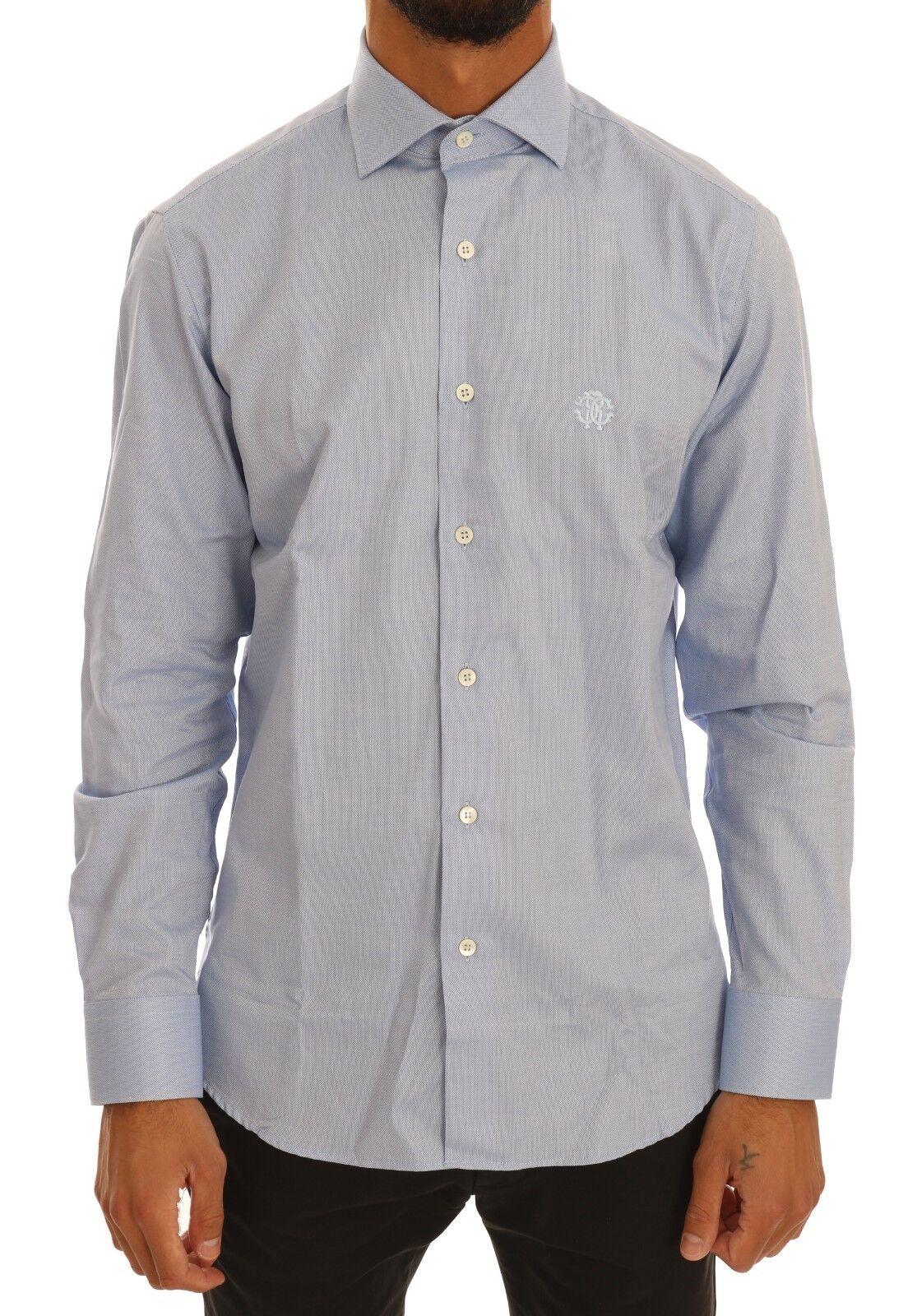 NEW  ROBERTO CAVALLI Shirt Dress Formal bluee Cotton Slim Fit IT40  US15.75 M