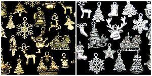 Tibetan-Silver-or-Golden-Random-Mix-Christmas-Charms-Festive-Pendants-Xmas-ML